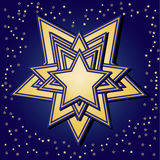 Golden stars on blue background Royalty Free Stock Photo