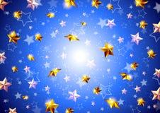 Golden stars on a blue background Stock Photo