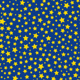 Golden stars blue sky seamless pattern Royalty Free Stock Photos