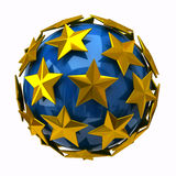 Golden stars on blue sphere Stock Photos