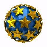 Golden stars on blue sphere. 3d illustration of golden stars on blue sphere stock illustration