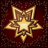 Golden stars on brown background, Stock Images