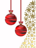 Golden stars with Christmas balls Royalty Free Stock Photo