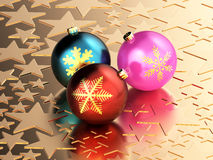 Golden stars and Christmas balls Stock Image