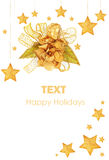 Golden stars Christmas tree ornaments Royalty Free Stock Photos