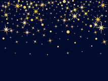 Golden stars and circles falling down. Cosmic abstract vector ba. Ckground. Decorative pattern on dark blue with gold sparkles, glitter confetti. Holiday astral Stock Photos