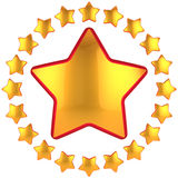 Golden stars composition (Hi-Res). Golden star shape bauble with many little stars arranged as circle border around. Modern luxury first place design element Stock Photography