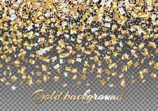 Golden stars of confetti. Festive background with shiny confetti stars. Christmas backdrop with floating golden particles. Bright vector illustration Stock Photos