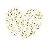 Golden Stars Confetti Heart on white Background. Greeting Card,. Invitation Template with Glitter Stars.  Sky Vector Background Royalty Free Stock Photo