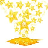 Golden stars with depth of field effect flying from cracked ground Stock Photo