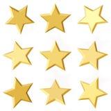 Golden stars. Different angles. 3d model, render on white background Stock Image