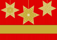 Golden stars with different patterns on red striped. Background with large text banner below Stock Photography
