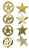 Golden stars in different positions. Isolated on white background with clipping paths royalty free illustration
