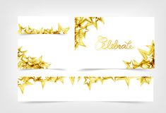 Golden Stars falling celebrate scatter decoration parties holiday, gift voucher banners concept collection set abstract background stock illustration