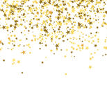 Golden stars falling from the sky on white background. Abstract Background. Glitter pattern for banner. Vector illustration Royalty Free Stock Images