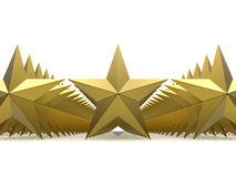 Golden stars front view Stock Photography