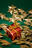 Golden stars and gift Stock Image