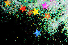 Golden stars with glitter Stock Image