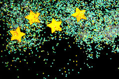 Golden stars with glitter Royalty Free Stock Photos