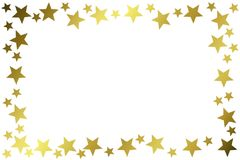 Golden Stars Glitter Frame Border. Glitter golden stars rectangular frame border. Image can also be used flipped form horizontal to vertical orientation stock illustration