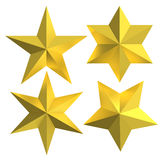 Golden stars isolated gold badges. Golden five and six point star shape badge isolated with white background. Gold star assortment set Stock Photo