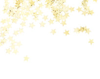 Golden stars isolated. Scattered golden stars decorations isolated on white background stock photos