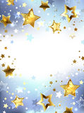 Golden stars on a light background Stock Photo