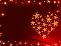 Golden stars like heart Stock Image