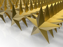 Golden stars linear pattern. 3D rendered illustration of multiple golden stars arranged in a linear pattern. The composition is positioned over a white Royalty Free Stock Photo