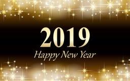 Golden stars merry christmas happy new year card 2019 stock illustration