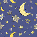 Hand drawn golden stars with moons on the blue background. Seamless pattern. Vector illustration of evening sky. Golden stars with moons on the blue background stock illustration