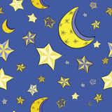 Hand drawn yellow stars with moons on the bright blue background. Seamless pattern. Vector illustration of night sky. Golden stars with moons on the bright blue stock illustration