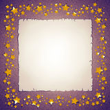 Golden stars and paper sheet frame Royalty Free Stock Photography