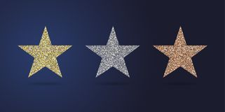Golden stars party collection royalty free stock image