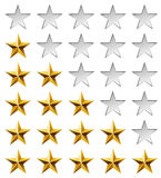 Golden stars rating. Template isolated on white background Royalty Free Stock Photo