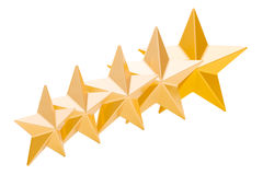 5 golden stars rating concept, 3D rendering. Isolated on white background stock illustration