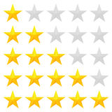 Golden stars rating. Five star rating. Different ranks from one to five stars. Golden embossed and gray transparent stars. Vector, isolated, eps 10 Royalty Free Stock Photo