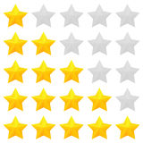 Golden stars rating. Five star rating. Different ranks from one to five stars. Golden embossed and gray transparent stars. Vector, isolated, eps 10 Royalty Free Stock Photography