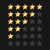 Golden Stars Rating Panel Set. Vector Royalty Free Stock Image