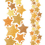 Golden stars seamless pattern, vertical composition, vector repe Royalty Free Stock Image
