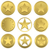 Golden stars set Stock Photography