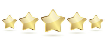 5 golden stars with shadow in a row Stock Photography