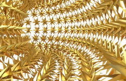 Golden stars in the shape of a tunnel. 3D rendered illustration of multiple golden stars arranged in the shape of a tunnel Royalty Free Stock Images