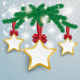 Golden 3 Stars Snow Lights Red Ribbon Fir Branch. Snow with star and red ribbon on the grey background Stock Photo