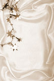 Golden stars and spangles on silk as background. In Sepia toned. Stock Photos