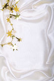 Golden stars and spangles on white silk Royalty Free Stock Photos