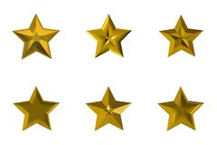Golden stars on white background stock photography