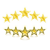 5 golden stars on white background. Vector Illustration. 5 golden stars on white background. design element  illustration Royalty Free Stock Photos