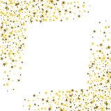 Golden stars with white square in the middle. Abstract backgroun. D. Glitter pattern for banner. Vector illustration on white background Stock Image