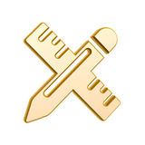 Golden Stationery symbol. Isolated on white background Royalty Free Stock Images